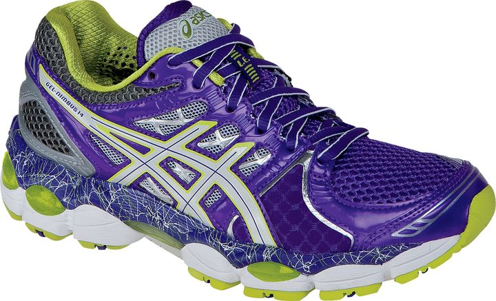 womens asics gel nimbus 14 le limited edition purple lime charcoal